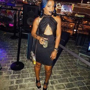 Black Lace & Suede Cutout Mini Dress